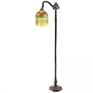 G & G Bros Beaded Edwardian Floor Lamp Amber Green